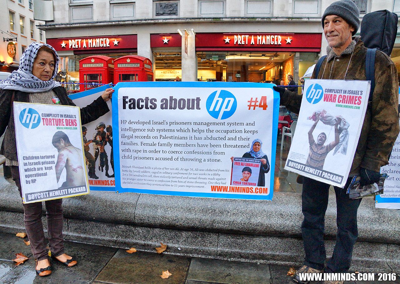 Boycott Israel News London Protest Exposes Hp S Complicity In