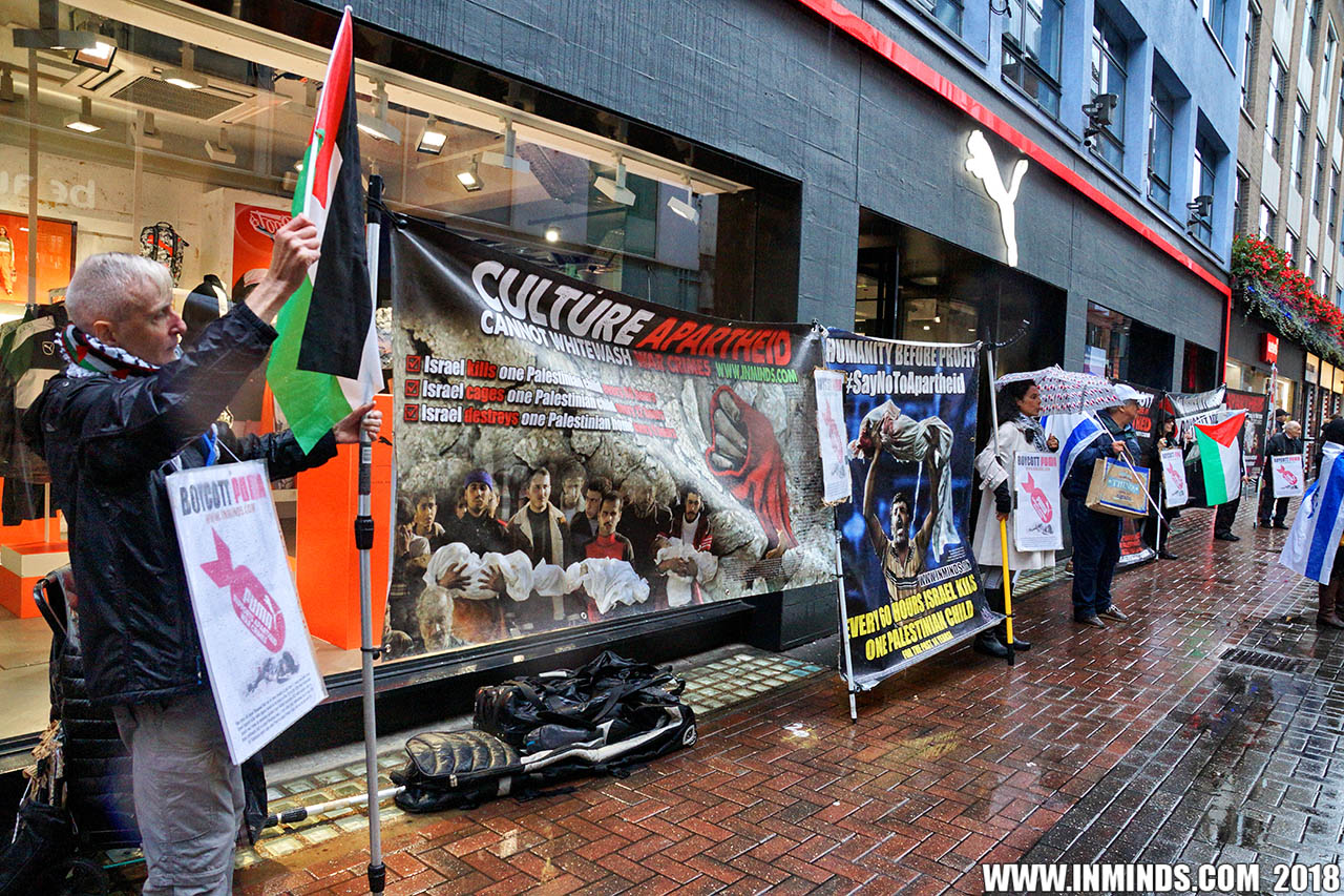 6a8652210d London protest outside Puma flagship store in Carnaby Street demands Puma  respect Palestinian human rights and end apartheid Israel sponsorship